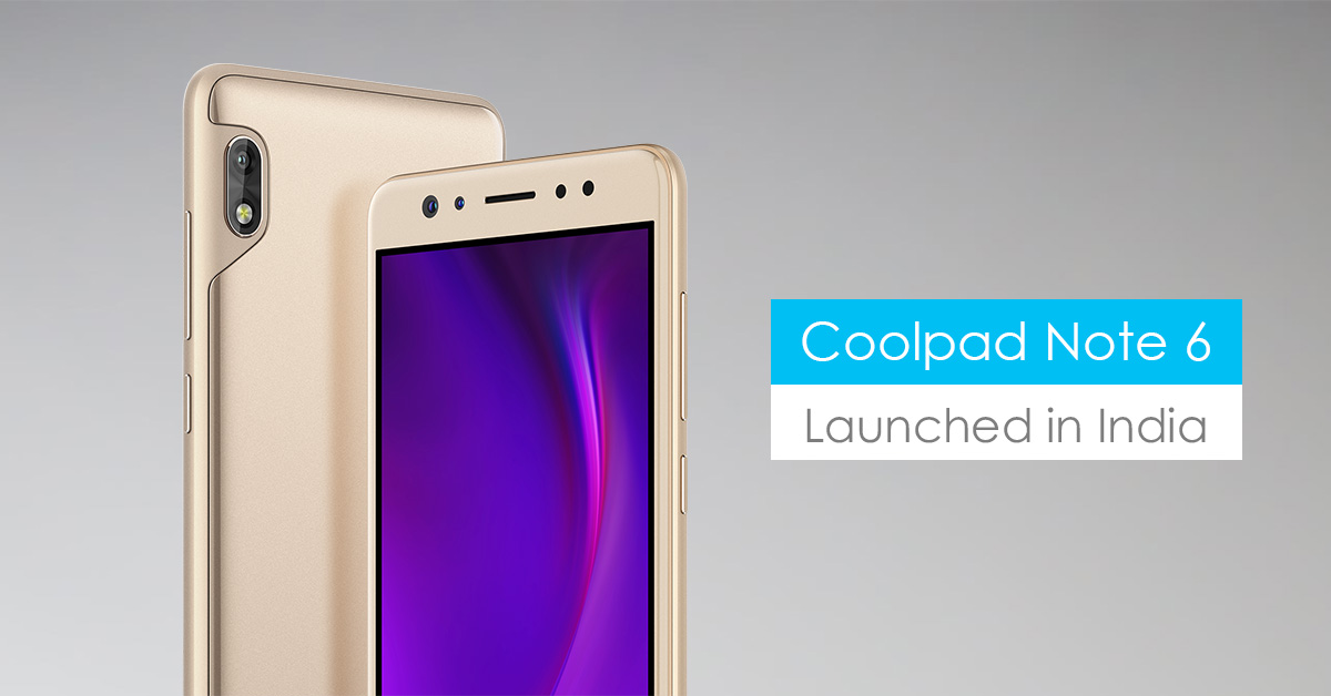 Coolpad Note 6 launch in india