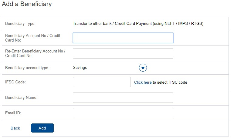 HDFC Add Beneficiaries Fields