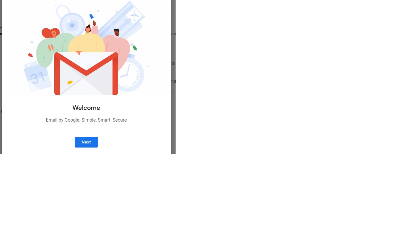 gmail welcome message