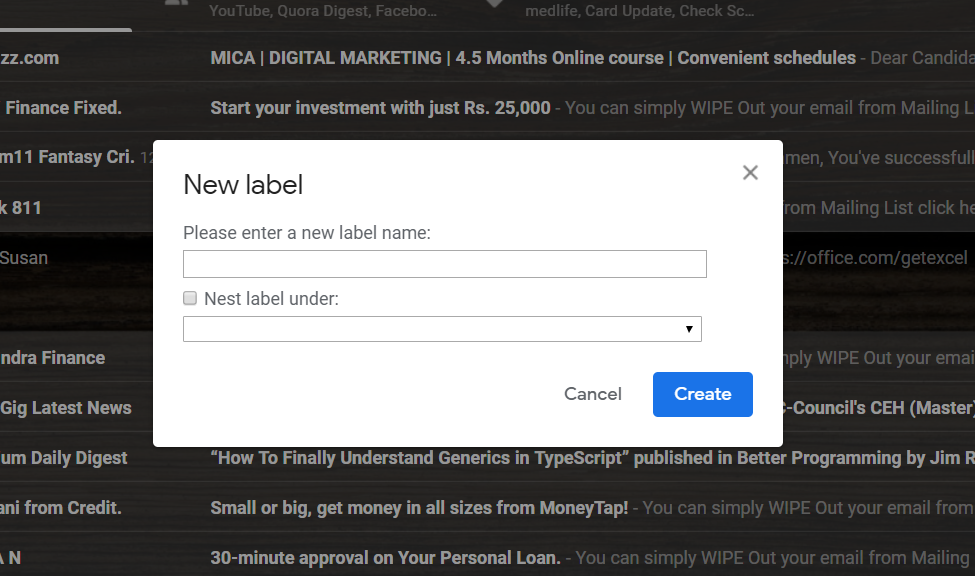 gmail label creation