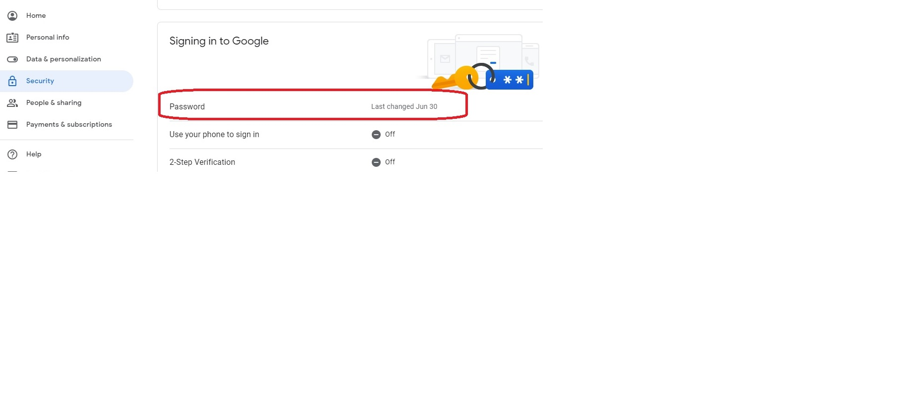 Google Password setting