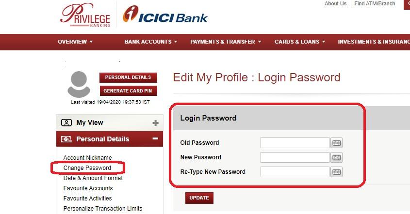 icici change password