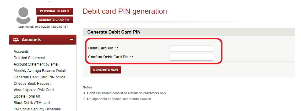 icici debit card pin generation