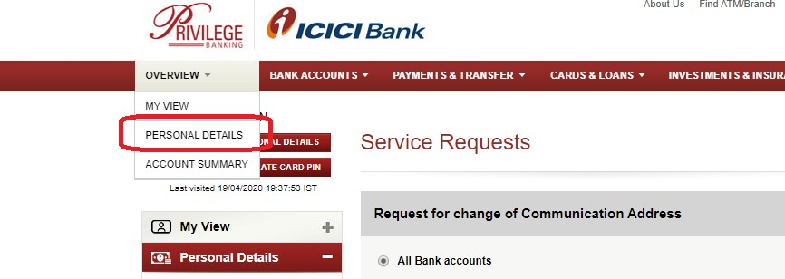 icici personal details